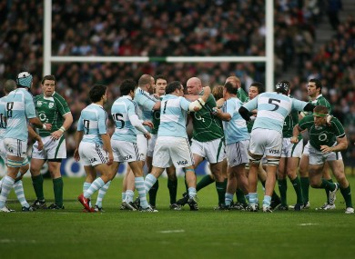 Players scuffle during the clash at Croke Park in November, 2008.