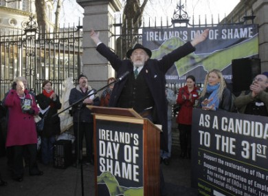 Actor Ger O'Leary re-enacts a speech by trade unionists James Larkin as the Dail dissolves inside Leinster House today