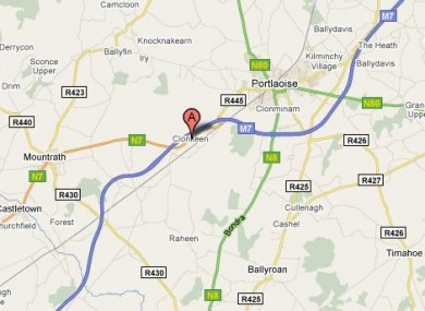 Clonkeen near Portlaoise, where yesterday's fatal accident occurred.