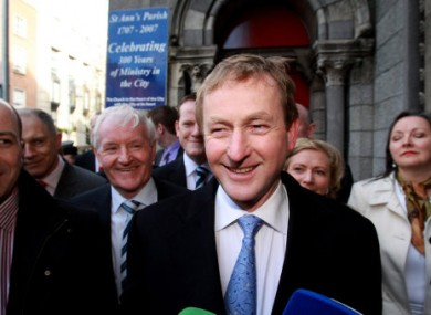 Enda Kenny emerging from mass at St Anne's Church, near Leinster House, this morning