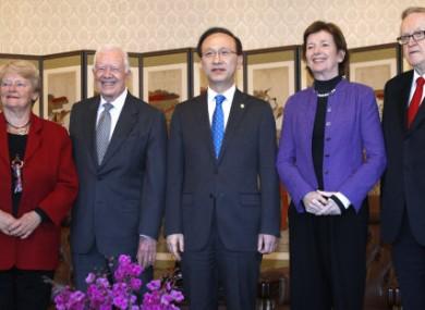 Former U.S. President Jimmy Carter, second left, along with former Norway's Prime Minister Gro Brundtland, left, former Irish President Mary Robinson, second right, and former Finnish President Martti Ahtisaari.