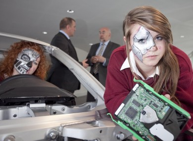 Students of Mercy Secondary School, BT CEO Graham Sutherland and Minister for Education Ruairi Quinn launch BT Young Scientist & Technology Exhibition 2012