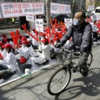 Prostitutes in South Korea disguise themselves as they stage a rally to protest against the country's new anti-prostitution law. Image:AP Photo/Ahn Young-joon