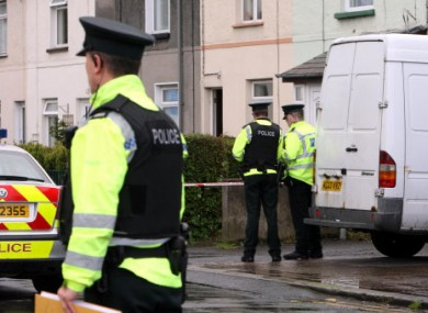 Police at the scene of a property on Hazelbrook Avenue, Bangor, Co Down after a man was shot in the chest in the seaside town in Northern Ireland.