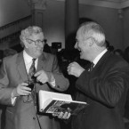 Garret FitzGerald and John Bruton at the launch of FitzGerald's book in 1991. (Eamonn Farrell/Photocall Ireland)