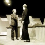 Charles Haughey shakes Garret FitzGerald's hand before a televised debate between the rival party leaders. (Eamonn Farrell/Photocall Ireland)