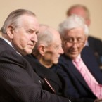 (left to right) Albert Reynolds, Liam Cosgrave, Garret Fitzgerald during a service to commemorate the 90th anniversary of the first Dail Éireann at the Mansion House Round Room in Dublin. (Mick Quinn/mqphoto/PA Wire)
