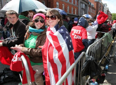 Crowds began gathering in Dublin city centre at 7am this morning for the chance to see Obama.