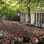 Obama delivers his speech to the crowd in College Green, Dublin on Monday evening. (Julien Behal/Press Association)