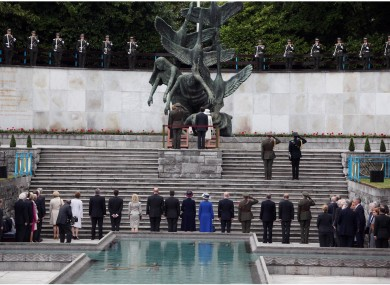 Queen Elizabeth and President McAleese lay wreathes at the Garden of Remembrance in Parnell Square earlier today.
