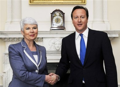 British Prime Minister David Cameron meets with Croatian Prime Minister Jadranka Kosor at 10 Downing Street in London, Friday June 10, 2011.