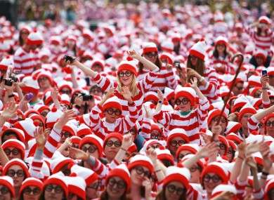 What a bunch of Wallys! People dressed as Wheres Wally on Merrion Square, Dublin help break the world record for the amount of Wheres Wallys in one place at the same time.