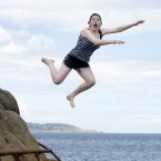 Danielle Lowrie celebrates finishing her Leaving Cert at the 40 Foot in Sandycove, Dublin (Mark Stedman/Photocall Ireland)