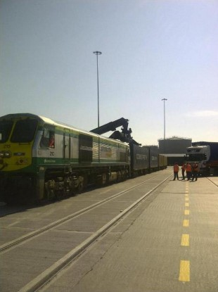 The new rail freight spur at Dublin Port today