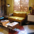 A glimpse at a retro living room at Kate's Lazy Meadow near the Castkill Mountains, NY