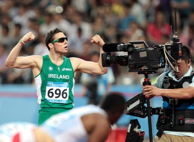 Ireland's Brian Gregan (DCU) celebrates after winning his semi-final in the Men's 400m at the World University Games in Shenzhen, China. He finished in a time of 46.00.