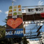 Residents have made their feelings known through colourful banners at the farm.
