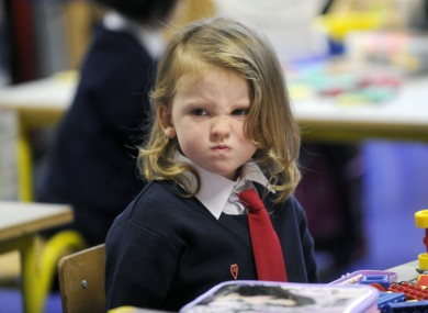New junior infant Millie Flynn clearly enjoyed her first day at Upper Gardiner Street School in Dublin city centre today.