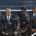 President Barack Obama, first lady Michelle Obama, former President George W. Bush and former first lady Laura Bush observing a moment of silence at the National September 11 Memorial in Manhattan this morning. 