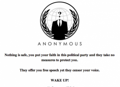 The message posted on the Fine Gael election site after it was hacked.