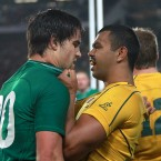 Conor Murray and Kurtley Beale get intimate.<span class=