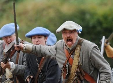 A re-enactment of the Battle of Newburn 1640, near Newcastle, England today.