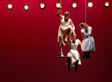 Members of the company 'Donka' perform on stage at the Gaeity to promote their production of a 'Letter to Chekhov,' which runs as part of the Ulster Bank Dublin Theatre Festival.