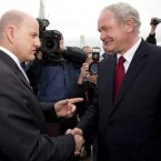 Presidential hopefuls Seán Gallagher and Martin McGuinness meet in Athy this morning.    Tony Kinlan/Photocall Ireland