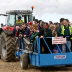 Crowds arrive on a tractor and trailer on the first day of the National Ploughing Championships.  Niall Carson/PA Wire/Press Association Images