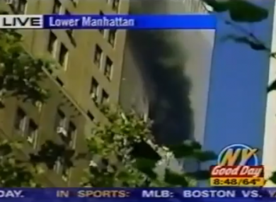 A screen grab from WNYW, a local Fox affiliate channel, which was the first TV station to report news of the attack on the WTC's North Tower.
