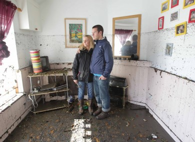 Georgina and Mike Culshaw survey the damage in their Kilmainham home yesterday morning