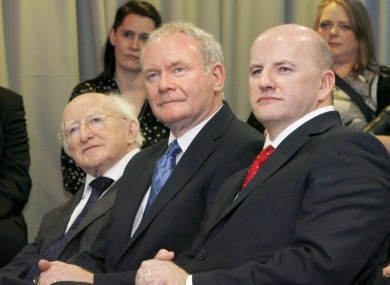 Michael D Higgins (left) leads the presidential field, with Sean Gallagher (right) beating Martin McGuinness into third place.