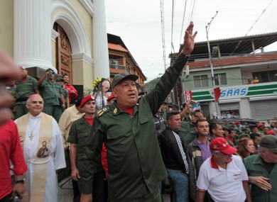 Chavez greets supporters upon his arrival to La Grita today