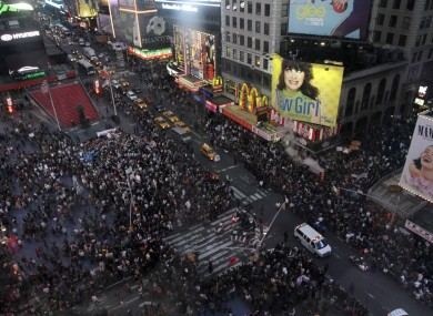 Demonstrators in New York's Time Square yesterday