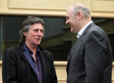 Gabriel Byrne and comedian Dara Ó Briain at the forum today.