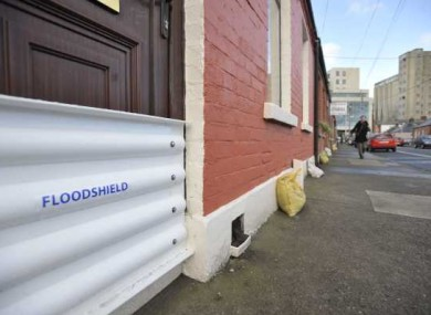 Sandbags in the Ringsend area of Dublin, where Kevin Humphreys was hard at work on Monday night.