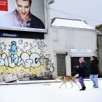 Even the advertisements reacted in wonder to the snow.   Photo: Sasko Lazarov/Photocall Ireland