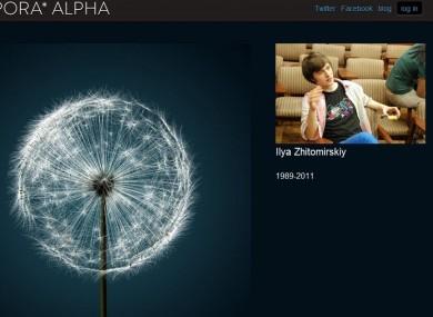 The Diaspora homepage pays tribute to Zhitomirskiy