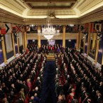 St Patrick's Hall at Dublin Castle as the inauguration takes place. Image: Photocall Ireland/Gis