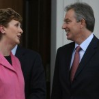 McAleese greets Britain's Prime Minister Tony Blair at the Áras on 26 January 2006.   Blair held a summit with then-Taoiseach Bertie Ahern in a bid to kick-start a fresh bid to bring back the Northern Ireland Assembly and other political institutions.   (Niall Carson/PA)