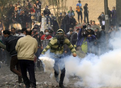 Protesters and tear gas in Cairo earlier today.