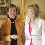 Mary McAleese greets Mary Robinson during her Thank You reception for members of the Council of State.   (Leon Farrell/Photocall Ireland)
