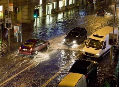 Flooding in Dublin city last month.