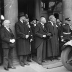 Centre is Douglas Hyde, to his left is Eamon de Valera and Seán T O'Kelly, both of whom would later become President.