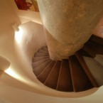 Spiral staircase leads down...