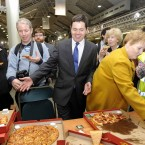 It's one in, all in, when the pizza arrives at the RDS count centre on 26 February. We hope it was on Paschal Donohue, FG, centre - he won his seat that day. Pic: Laura Hutton/Photocall Ireland
