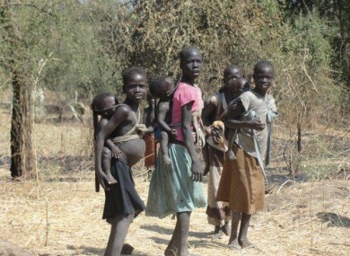 A group of young refugees arriving at the camp in Maban.