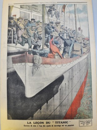 La Lecon du Titanic: This illustration from Le Petit Journal, a Parisian newspaper, in June 1912, shows that safety lessons were learned following the sinking of the Titanic.