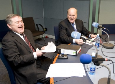Brendan Howlin (L) and Michael Noonan on RTÉ radio this morning taking questions from the public about Budget 2012.
