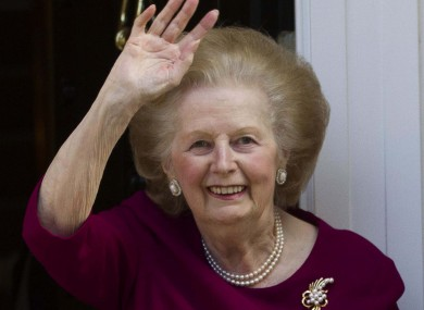 Margaret Thatcher outside her London home in November 2010